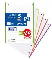 RECAMBIO A/4 100+20HJS 90GRS SCRIBZEE OXFORD 5 COLORES