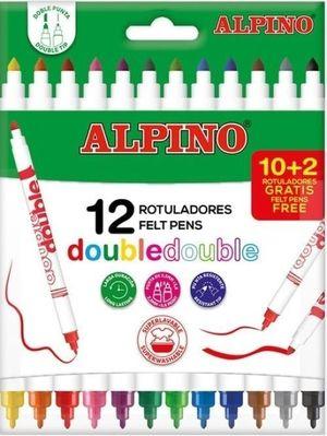 ROTULADORES DOBLE PUNTA 12 COLORES ALPINO