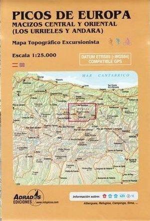PICOS DE EUROPA. MACIZOS CENTRAL Y ORIENTAL (LOS URRIELES Y ANDARA). MAPA