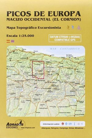 PICOS DE EUROPA. MACIZO OCCIDENTAL (EL CORNIÓN). MAPA